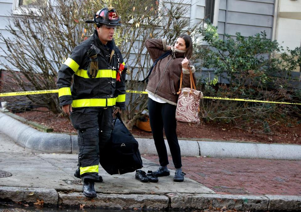 A Cambridge firefighter assisted a woman.